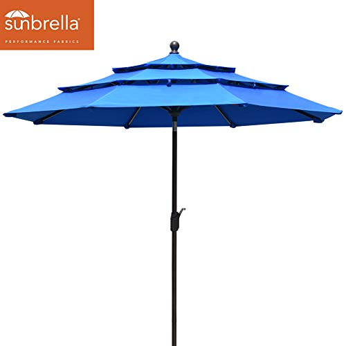EliteShade Sunbrella 9Ft Market Umbrella Patio Outdoor Table Umbrella 3 Layers with Ventilation (Sunbrella Royal Blue)