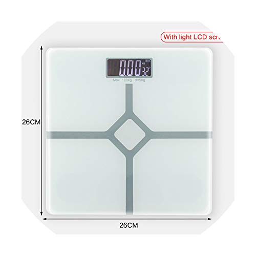 Smart Household Glass Body Scales Floor Digital Bathroom Scale 0.01g Electronic Body Weight Scale LCD Display 180KG/50G,Russian Federation,26x26cm White