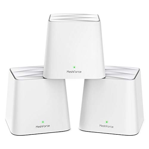 MeshForce Whole Home Mesh WiFi System (3 Pack), Dual Band AC1200 Router Replacement for Seamless and High Performance Wireless Coverage up to 6+ Bedrooms