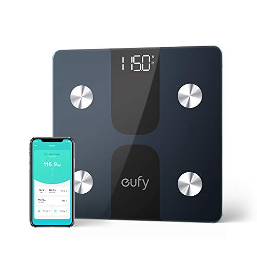 eufy Smart Scale C1 with Bluetooth, Large LED Display, 12 Measurements, Weight/Body Fat/BMI/Fitness Body Composition Analysis, Auto On/Off, Auto Zeroing, Tempered Glass Surface, Black/White, lbs/kg