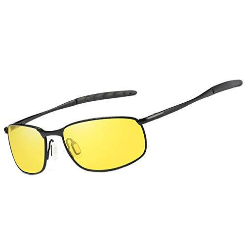 FEIDU Sport Mens Sunglasses HD Lens Metal Frame Driving Shades Night Vision FD 9005 (Yellow/Black, 2.24)