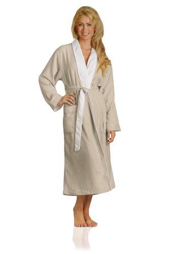 Plush Necessities Luxury Spa Robe - Microfiber with Cotton Terry Lining, Seashell, Small