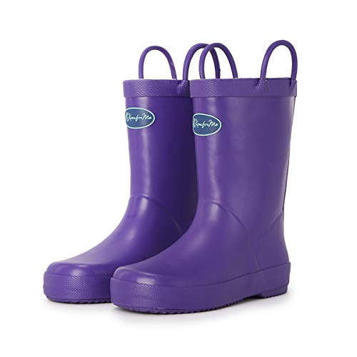 KomForme Kids Rain Boots, Waterproof Rubber Matte Boots with Reflective Stripes and Easy-on Handles Purple, 2 Big Kid