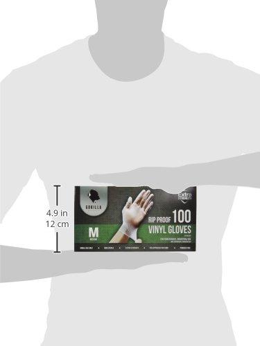 Gorilla Supply 1000 Vinyl Gloves M Case Powder Free(100 of 10) Latex Free Extra Strong Food, Medium deal 50% off 31gvINscvSL