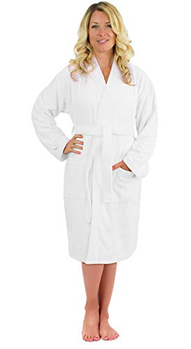 Luxurious Turkish Cotton Kimono Collar Super-Soft Terry Absorbent Bathrobes for Women (White, XX-Large)