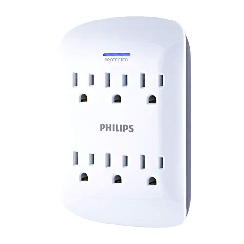 Philips 6 Outlet Surge Protector Outlet Adapter, Wall Tap Power Strip, Protected Indicator Light, 125V AC, 15A, 1875W, 900 Joules, ETL Listed, Gray and White Finish, SPP3461WA/37