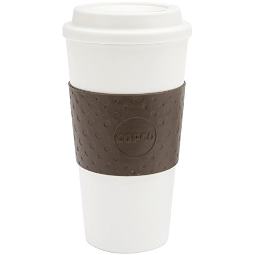 Copco 2510-9963 Acadia Double Wall Insulated Travel Mug with Non-Slip Sleeve, 16-Ounce, White/Brown
