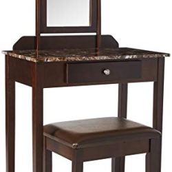 Crown Mark Iris Vanity Table/Stool, Espresso Finish