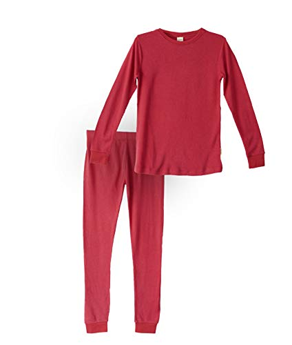 Habit Rags -- Boys and Girls Organic Bamboo Two Piece Thermal Underwear Long John Pajama Set for Toddlers and Big Kids (10, Fire Red)