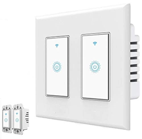 Nexete Smart Wi-Fi Wall Light Switch Compatible with Alexa Google Assistant & IFTTT ,Remote Control, Timing Function No Hub Required (smart light switch 2-Pack)