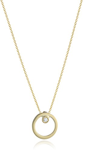 """31iYQIdqFML Items containing natural stones may have slight variances in size, shape and color Necklace 18"""" with jumpring at 16"""" length 18K Small Open Circle Pendant w. Dia accent"""