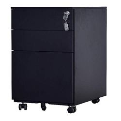 GREATMEET Mobile 3 Drawers File Cabinet with 5 Wheels,Filing Cabinet with Lock for Letter/Legal A4 F4 Size, Small Drawer for Office Home,Black