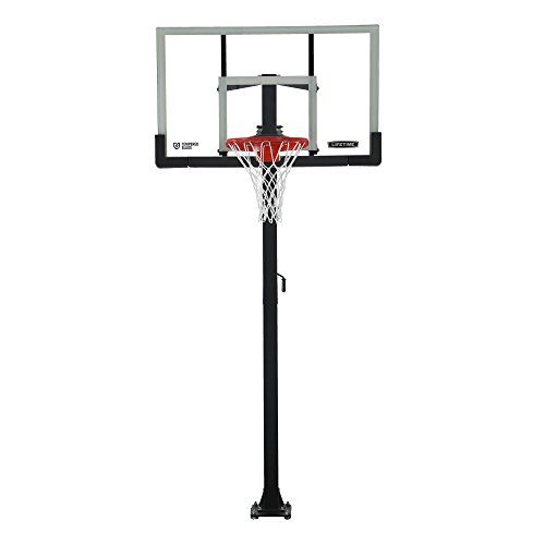 Lifetime Products Crank Adjust In Ground Basketball Tempered Glass Backboard, 54'