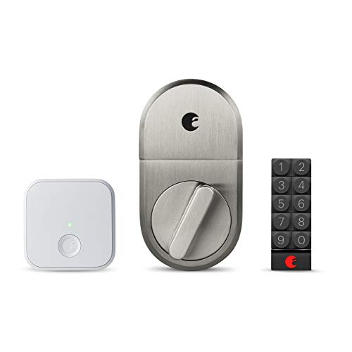 August-Smart-Lock-Connect-Wi-Fi-Brige-Satin-Nickel-Works-with-Alexa-Other-Smart-Home-Systems-Now-with-Smart-Keypad-for-Secure-Code-Based-Entry