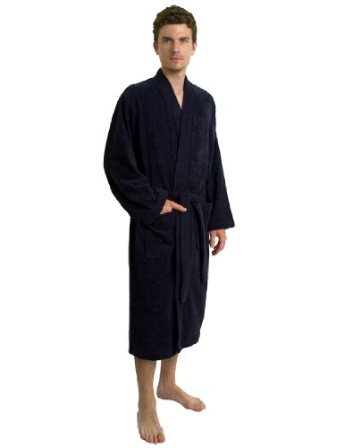 TowelSelections Turkish Terry Kimono Bathrobe - 100% Turkish Cotton, Terry Cloth Bath Robe for Women and Men, Made in Turkey (Navy, S/M)