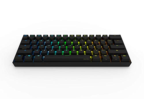 Anne Pro 2 Mechanical Gaming Keyboard 60% True RGB Backlit - Wired/Wireless Bluetooth 4.0 PBT Type-c Up to 8 Hours Extended Battery Life, Full Keys Programmable by Obins (Gateron Brown, Black)
