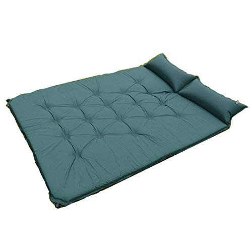 J.SPG 2-Person Automatic air Mattress Perspiration and Ventilation Rebound Sponge Moisture Proof Picnic Camping Yoga Beach Bring Your own Pillow 190T Polyester Spinning 190x130x5 cm,Green
