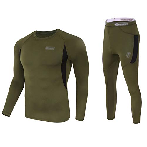 Convallaria Men's Thermal Underwear Set Ultra Soft Wicking Crew Neck Long Johns Fleece Lined Sweat Bottom and Top Quick Drying for Outdoor Camping Sport Warm Underwear Set Army Green, L