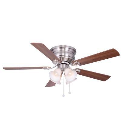 Hampton Bay Clarkston 52 in. Indoor Brushed Nickel Ceiling Fan With Reversible Blades by Hampton Bay