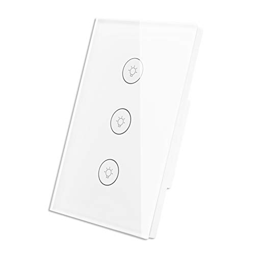 WiFi Smart Wall Touch Light Switch Glass Panel Wireless Remote Control by Mobile APP Anywhere Compatible with Alexa,Timing Function No Hub Required (Wall Switch 3 Gang)