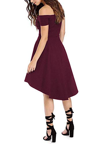 Sarin Mathews Womens Off The Shoulder Short Sleeve High Low Cocktail Skater Dress 15 Fashion Online Shop gifts for her gifts for him womens full figure