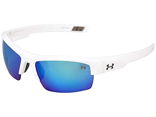 Under Armour Igniter Sunglasses, Shiny White / Gray Blue Multiflection Lens, 60 mm