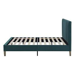 Classic Brands Chicago Modern Tufted Upholstered Platform Bed | Headboard and Wood Frame with Wood Slat Support, Queen, Antonio Juniper