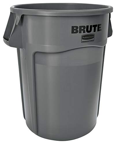 Rubbermaid Commercial Products FG264360GRAY BRUTE Heavy-Duty Round Trash/Garbage Can, 44-Gallon, Gray