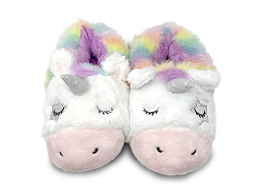 Women's Unicorn Sleeping Apparel, Union Suit Pajamas, Unicorn Slippers for Women (Rainbow Unicorn Slippers, 9/10)