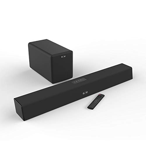 120 Watt Sound Bar with Subwoofer, MEGACRA Soundbars for TV with Bluetooth and Wired Connections, Home Theater Surround Sound, Bass Treble Adjustable, Sync Remote Design (2019 Beef Up Version)