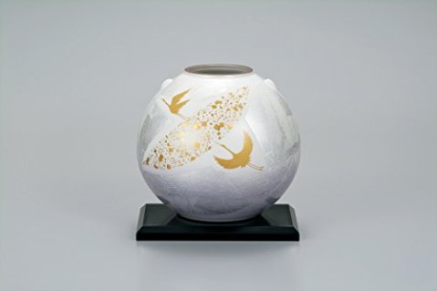 "Japanese drawn Ceramic Porcelain kutani ware. Japanese Ikebana flower vase with a stand. Gold moon and crane."" Japanese ceramic Hagiyakiya 1039"