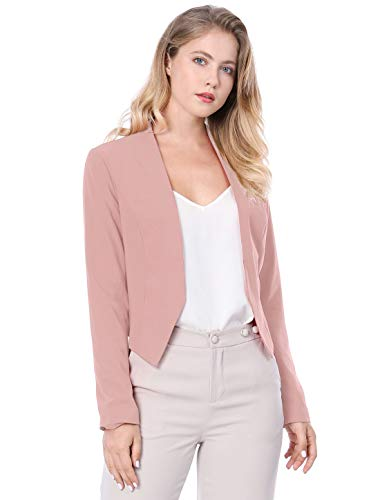 Allegra K Women's Collarless Work Office Business Casual Cropped Blazer 14 Fashion Online Shop gifts for her gifts for him womens full figure