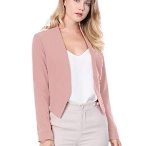 Allegra K Women's Collarless Work Office Business Casual Cropped Blazer 16 Fashion Online Shop gifts for her gifts for him womens full figure