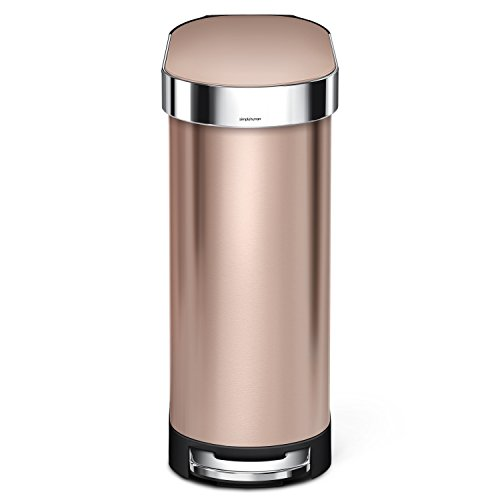 simplehuman 45Liter / 12 Gallon Stainless Steel Slim Kitchen Step Trash Can with Liner Rim, Rose Gold Stainless Steel