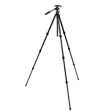 SLIK-PRO-634CF-SVH-Carbon-Fiber-Tripod-with-SVH-501-Compact-Fluid-Video-Head-for-MirrorlessDSLR-Sony-Nikon-Canon-Fuji-Cameras-and-More-Black-611-899