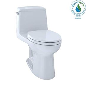 TOTO MS854114ELG#01 Eco Ultramax ADA Elongated One Piece Toilet with Sanagloss, Cotton White