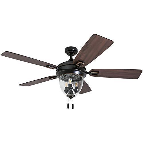 Honeywell Ceiling Fans 50615-01 Glencrest 52' Indoor & Outdoor, LED Edison Bulbs, ETL Damp Rated Aged Teak/Dark Walnut Blades, Oil Rubbed Bronze