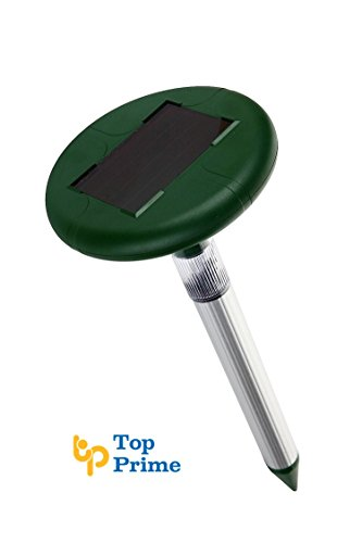 Top Prime Solar Mole, Gopher, Vole, Rodent, Snake Repeller | Waterproof Sonic Spike LED Light Farm, Yard, Lawn Garden