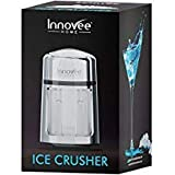 Innovee Manual Ice Crusher With Rust-Proof Zinc Alloy Construction - Carbon Steel 430 Blade Crushes Ice to Your Desired Fineness - Non-Slip - Easy to Use Ice Crusher Hand Crank - Chrome Plated