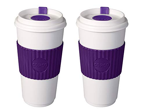Copco To Go 16 oz. BPA Free Plastic Travel Tumbler with Slide Open Spillproof Lid, 2 Pack, Purple