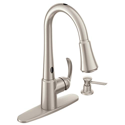 Moen 87359E2SRS Delaney Motion Sense One-Handle High Arc Pulldown Kitchen Faucet, Spot Resist Stainless
