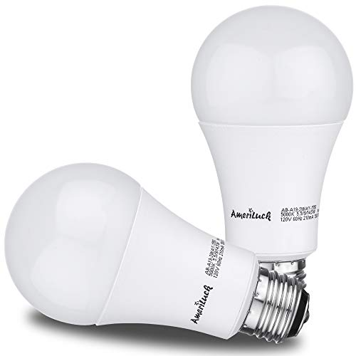 AmeriLuck LED 3-Way Light Bulb, Warm Soft White, 40-60-100W Equivalent, 500-1000-1500+Lumens, Lo-Me-Hi 5.5-9-14.5W, CRI 80+, Omni-Directional A19-UL Listed (2700K | 2 Pack)