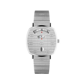 Gucci Grip 38mm Stainless Steel GG Engraved Watch YA157401