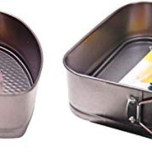 Set of 2 Non Stick Spring Form Cake Tins. Heart Shaped Tin & Square Cake Tin 31ldyeDju6L