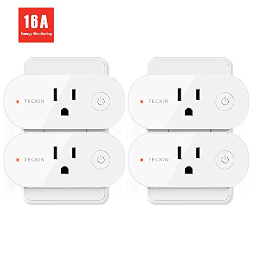 Smart Plug Wifi Outlet 16A Compatible With Alexa, Echo, Google Home and IFTTT, Teckin Mini Smart Socket with Energy Monitoring and Timer Function, No Hub Required,4 Pack