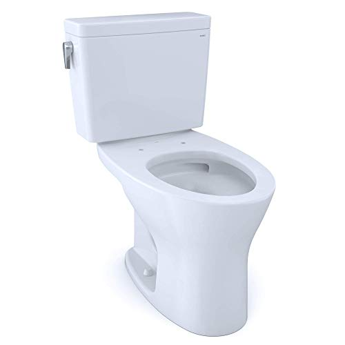 TOTO CST746CEMG#01 Drake Two-Piece Elongated Dual Flush 1.28 and 0.8 GPF DYNAMAX TORNADO FLUSH Toilet with CEFIONTECT, Cotton White