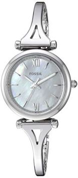 Fossil Women Mini Carlie Quartz Stainless Steel and Stainless Casual Watch Color: Silver, Silver (Model: ES4501)