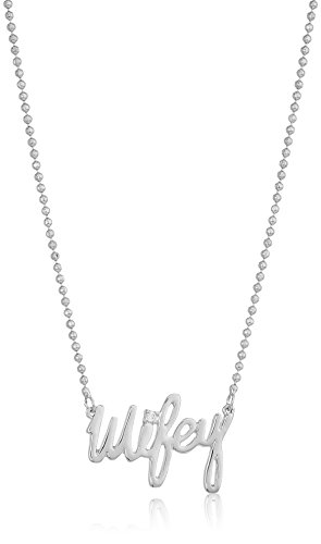 31mBVRSnzYL items that are handmade may vary in size, shape and color silver tone delicate necklace chain and 'wifey' pendant with cz stone accent
