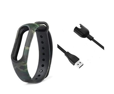 AS ENTERPRISE M3 and M4 USB Dock Charger with Army Green Silicon Straps Double Colour compatiable for Xia-omi Mi Band 3 & 4 Smart Band Wrist Strap (1 Dock and 1 Starp Only)