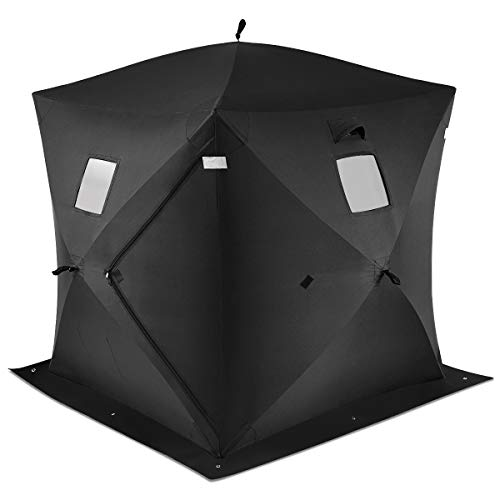 Tangkula Pop-up Ice Shelter 2-Person with Detachable Ventilation Windows